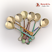 David Andersen Spoons 10 Norway Sterling Silver Gold