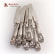 Georgian Set of 11 Knives Blunt Sterling Silver Handles Towle 1898