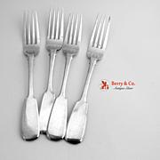 Russian Dinner Forks 4 Fiddle 84 Standard Silver 1906