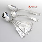 Set of Spoons Server Gravy Ladle Beauvias St.Louis Sterling Silver 1850