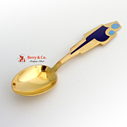 SALE Christmas Spoon 1962 Michelsen Gilt Enamel Sterling Silver