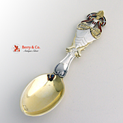 SALE Christmas Spoon 1921 Michelsen Enamel Sterling Silver