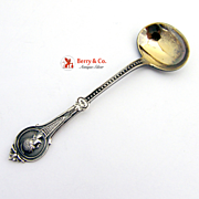 Medallion Master Salt Spoon Sterling Silver Wood And Hughes