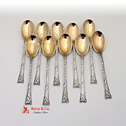 Set Of 10 Japanesque Aesthetic Demitasse Spoons Sterling Silver Gorham 1920