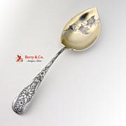 Aesthetic Floral Stem Serving Spoon Sterling Silver 1890