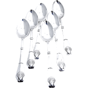Shell Dessert Spoons Set of  6 Sterling Silver 1924
