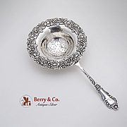 Wonderful Large Ornate Floral Tea Strainer Sterling Silver B B And B Co 1910