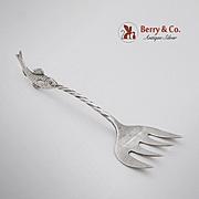SALE PENDING Figural Fish Finial Sardine Fork Sterling Silver 1940