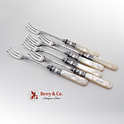 SALE PENDING Vintage Cocktail Fork Set Sterling Silver Mother Of Pearl 6 Pieces 1920