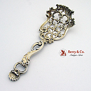 Ornate Openwork Large Candy Nut Spoon Gilt Sterling Silver Redlich Co 1890