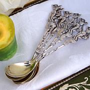 Figural Egg Spoons 6 Gorham 665 Sterling Silver 1885