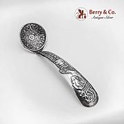 Vintage Small Ladle Aztec Calendar Indian Bust Decorated Handle Sterling Silver Mexico Eagle 2