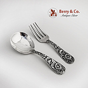 Repousse Baby Flatware Set Sterling Silver S Kirk and Son