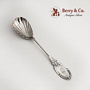 Sugar Shell Spoon Coin Silver Twist Handle 1870