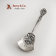 Ornate Sugar Shovel 800 Silver Cast Rose and Scroll Decorations c.1900.