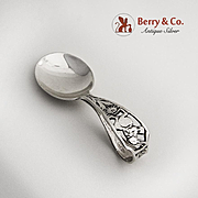Peter Rabbit Curved Handle Baby Spoon Sterling Silver Webster 1920