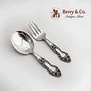 Meadow Rose Baby Flatware Set Fork Spoon Sterling Silver Watson 1907