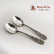 Repousse Demitasse Spoons 2 Sterling Silver S Kirk and Son