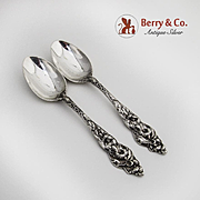 Les Six Fleurs 2 Teaspoons Sterling Silver Reed and Barton 1901