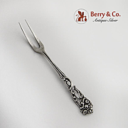 Small Ornate Serving Fork 800 Silver Germany 1900