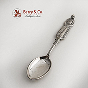 Norwegian Figural National Costume Lady Souvenir Spoon 830 Silver 1900