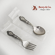 Floral Baby Flatware Set Sterling Silver Rogers 1940