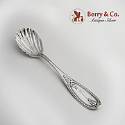Olive Sugar Shell Spoon Coin Silver 1860