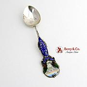 Victoria Falls Rhodesia Souvenir Spoon Sterling Silver Enamel 1906