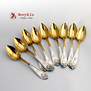 Josephine Set of 9 Demitasse Spoons Coin Silver Galt Brothers 1870