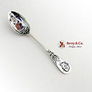 Demitasse Souvenir Spoon George Washington Enameled Bowl Sterling Silver 1895