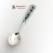 Demitasse poon Sterling Silver Floral Enamel Decorations