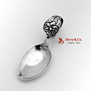 Vintage Curved Handle Baby Spoon Sterling Silver Daffodil 1900