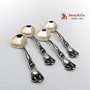 Art Nouveau Set of 4 Salt Spoons Sterling Silver Baker Manchester 1900