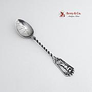 Golfer Souvenir Demitasse Spoon Sterling Silver 1900 Pinehurst NC