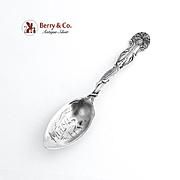 Miami Florida Souvenir Citrus Spoon Aligator Palm Tree Handle Sterling Silver