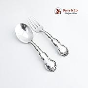Strasbourg Baby Flatware Set Spoon Fork Sterling Silver Gorham