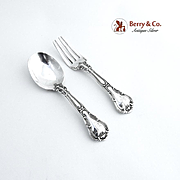 Chantilly Baby Flatware Set Spoon Fork Sterling Silver Gorham Mono Stephanie