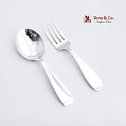 Vintage baby Flatware Set Spoon Fork Sterling Silver