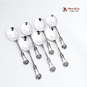 King George Set of 7 Cream Soup Spoons Sterling Silver Gorham 1894