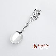 Switzerland Souvenir Demitasse Spoon 800 SilverFloral Handle