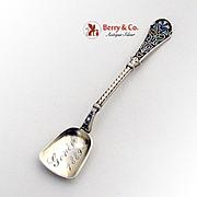 Cloisonne Enamel Salt Spoon Shovel Sterling Silver 1889 Geneve