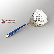 Blue Guilloche Enamel Bon Bon Spoon Sterling Silver Wallace