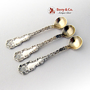 Louis XV the 15th Set of 3 Salt Spoons Sterling Silver Whiting 1891