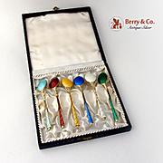 Danish Set of 6 Demitasse Spoons Multi Colored Guilloche Enamel Sig Denmark