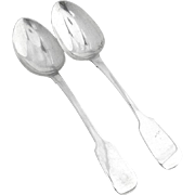 Antique Irish Pair of Tablespoons Sterling Silver Peter Walsh Dublin 1939