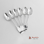 Antique Irish Set of 6 Dessert Spoons Sterling Silver Charles Marsh Dublin 1825