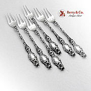 Lily Cocktail Oyster Forks Set Whiting Patent Applied For Sterling Silver 1902