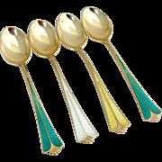 Enameled Gilt Demitasse Spoons Set David Andersen Sterling Silver 1960