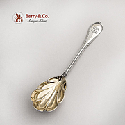 Cottage Serving Berry Spoon Gilt Shell Bowl Gorham Sterling Silver Pat 1861