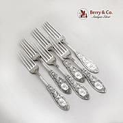 Arabesque Regular Forks Set Whiting Mfg Co Sterling Silver Pat 1875